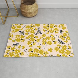 Millefleurs with bees - pattern Rug