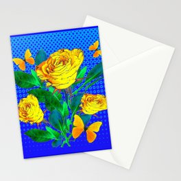 YELLOW BUTTERFLIES, ROSES, & BLUE OPTICAL ART Stationery Cards