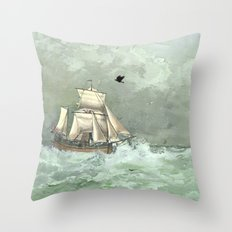 Breaking waves still Throw Pillow