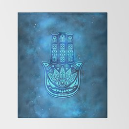 Hamsa Hand Magic Eye Blue Watercolor Art Throw Blanket