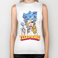 telephone Biker Tanks featuring Telephone by Denda Reloaded