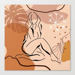 Sensual sitting woman line art, Abstract monstera leaf illustration, Organic floral background Canvas Print