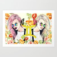gemini Art Prints featuring Gemini by Sara Eshak