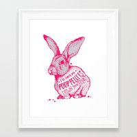poop Framed Art Prints featuring Poop Rabbit by Nat Osorio