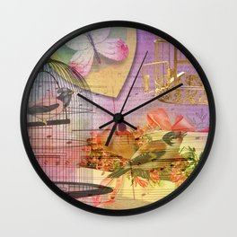 Beautiful Birds & Cages Colorful & Vintage Wall Clock
