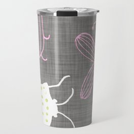 Insect watercolor grey textile texture Travel Mug