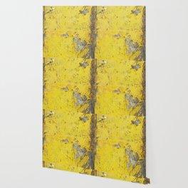 Yellow Weathered Wood rustic decor Wallpaper