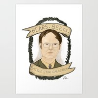 dwight Art Prints featuring Dwight Schrute by Rhian Davie