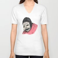 number V-neck T-shirts featuring Number Three by Ludwig Van Bacon