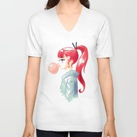 bubblegum V-neck T-shirts featuring Bubblegum by Freeminds