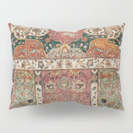 Persian Medallion Rug V // 16th Century Distressed Red Green Blue Flowery Colorful Ornate Pattern Pillow Sham