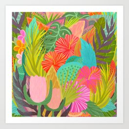 Saturated Tropical Plants and Flowers Art Print