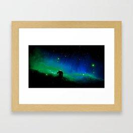 Horsehead nEBula. Blue & Green Framed Art Print