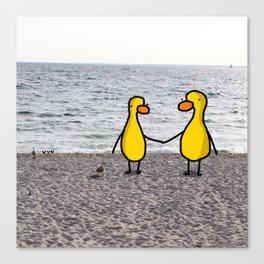 Lovebirds on the Beach Canvas Print