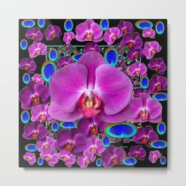 Black-Blue-Pink Orchids Blue Peacock Eyes Art Metal Print