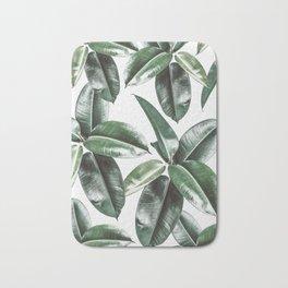 Tropical Leaves Pattern | Dark Green Leaves Photography Bath Mat