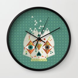 Candy Skull - Green Background Square Wall Clock