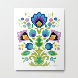 Polish Folk Blue and Lavender Flowers Metal Print