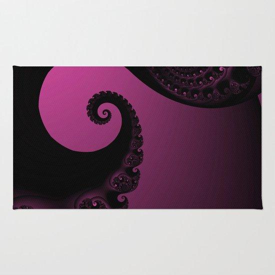 Pink and Black Fractal Rug