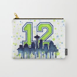 Seattle 12th Man Art Seattle Skyline Space Needle Carry-All Pouch
