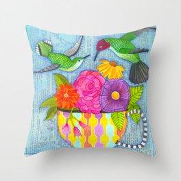 hummingbird tea Throw Pillow