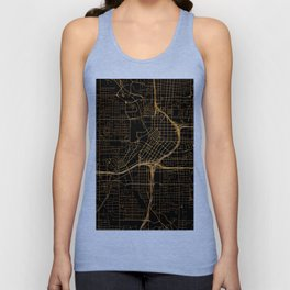 Black and gold Atlanta map Unisex Tank Top