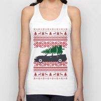subaru Tank Tops featuring Happy Holidays - Subaru Christmas Sweater by E. Phillips - Creative Designer