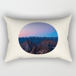 Purple & Blue Sunrise Over Mountain Range Circle Photo Rectangular Pillow