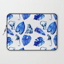 Bright Blue Monkey and Jungle Leaf Pattern Laptop Sleeve