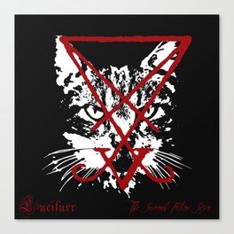 CAT METAL : Lucifurr - The Seventh Feline Sign Canvas Print