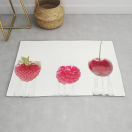 3 #red #fruits #cherry #strawberry  #raspberry on #3 #forks  Rug