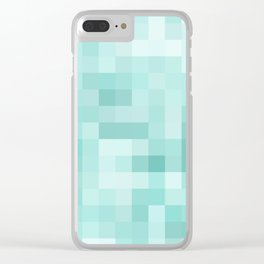 geometric square pixel pattern abstract in green Clear iPhone Case
