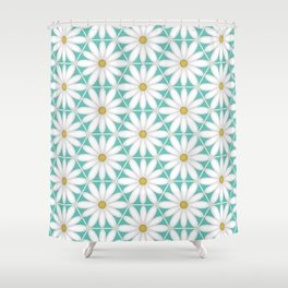 Daisy Hex - Turquoise Shower Curtain