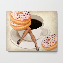 Miss Sprinkles Takes a Coffee Break | Vintage Inspired Collage Metal Print