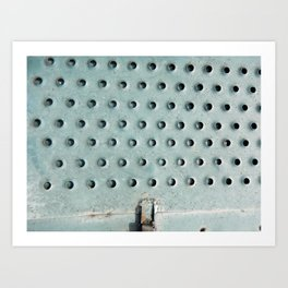 Aviation textures plating of aircraft and helicopter rivets Art Print