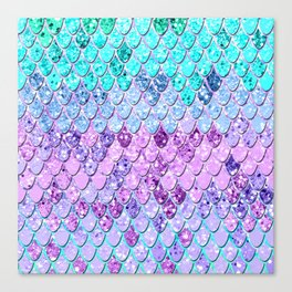 Mermaid Scales with Unicorn Girls Glitter #9 #shiny #decor #art #society6 Canvas Print