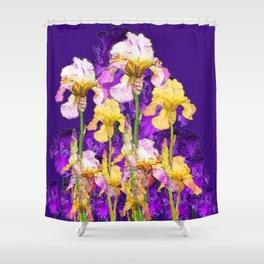 Contemporary Purple Yellow Iris Garden Art Shower Curtain