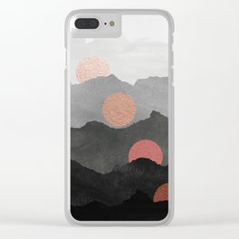 Abstract Mountains // Shades of Black and Grey Landscape Full Metallic Gold Moon Clear iPhone Case