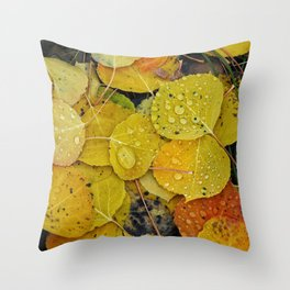 Water droplets on autumn aspen leaves Throw Pillow