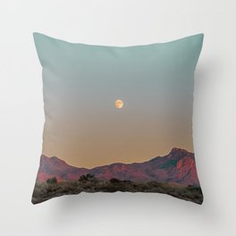 Sunset Moon Ridge // Grainy Red Mountain Range Desert Landscape Photography Yellow Fullmoon Blue Sky Throw Pillow
