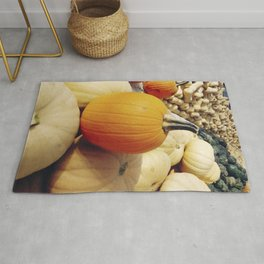 Freshly picked assortment of fall pumpkins and squash Rug