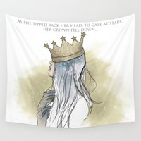 text Wall Tapestries featuring Fallen: Text by Hallowette