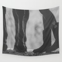bows Wall Tapestries featuring boots hooves + bows by lissalaine
