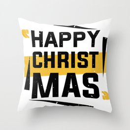 Happy Christmas T-Shirt - Chirstmas Family Gift Shirt - Christmas Gift Shirt - Happy Family Shirt Throw Pillow
