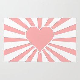 Pink Coral Valentine Love Heart Explosion Rug