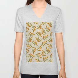 Autumn rustic green brown watercolor leaves pattern Unisex V-Neck