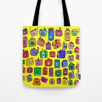 cameras Tote Bags featuring Cameras by andy_panda_