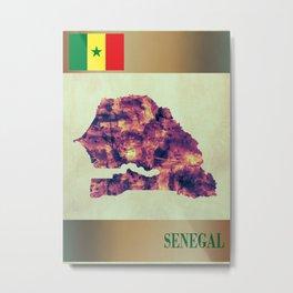 Senegal Map with Flag Metal Print