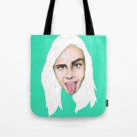 cara delevingne Tote Bags featuring Cara Delevingne by Alejo Malia