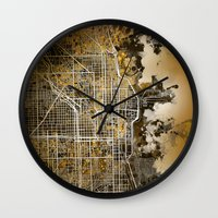 chicago map Wall Clocks featuring chicago by Bekim ART